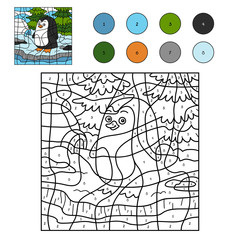 Color by number for children (penguin and background)