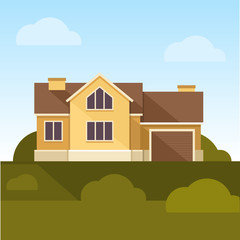 Classic Family Home. Flat Design Style. Vector