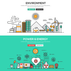 Flat design line concept -Environment and Power and Energy
