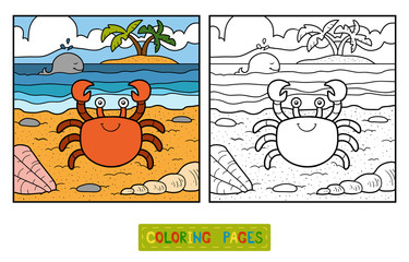 Coloring book (crab and background)