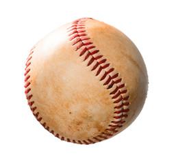 Old baseball on white