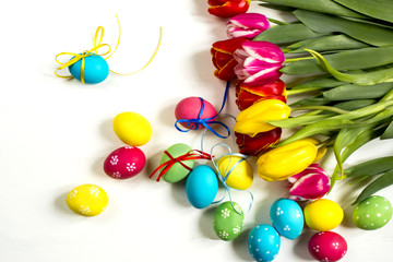tulips and Easter eggs not white background