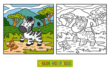 Coloring book (Zebra and background)