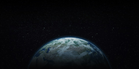 Earth seen from space (3D illustration with copy space)