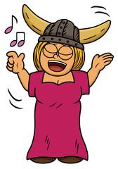 Cartoon illustration of a viking woman singing song