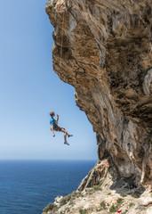 Malta, Ghar Lapsi, McCarthey's Cave, rock climber