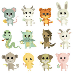 Set of vector illustrations of animals.Chinese Zodiac