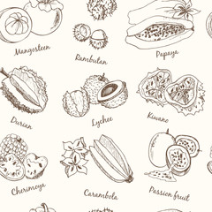 Exotic Fruits Seamless Pattern.