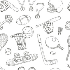 Sport doodles seamless pattern.
