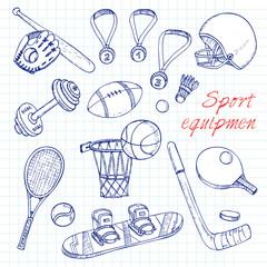 Sport doodles elements background.