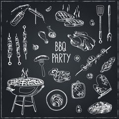 Vector hand drawn set with barbecue tools.