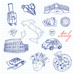 Set of italian drawings. Sketches. Hand-drawing. Vector illustra