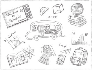 Set of school drawings. Sketches. Hand-drawing.