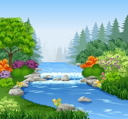Beautiful mountain river in forest