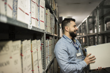 Man working in an archive