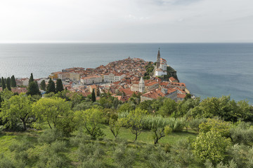 Piran Old Town cityscape, Slovenia. Aerial view.