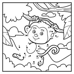 Numbers game, dot to dot (monkey and background)