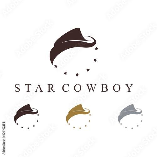 Cowboy Hat Circle Of Stars Design Vector Logo Template