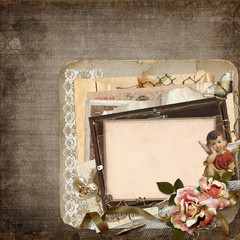 Vintage background with old frames, angels, roses and old retro decorations