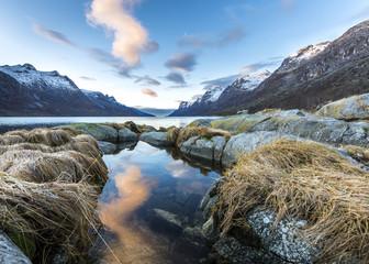 Norway, Troms, Esbjerg, fjord