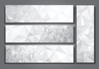 Vector abstract gray, triangles banners.