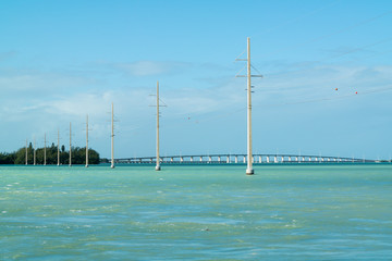 Channel 2 with power lines, Craig Key and Overseas Highway US 1 bridge over Channel 5 to Key West, Florida Keys, USA