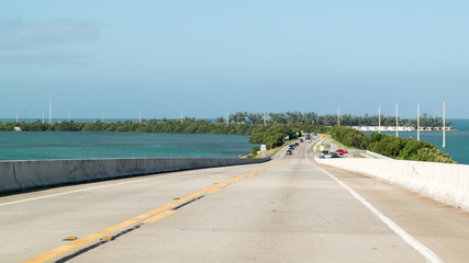 Traffic on Overseas Highway US 1 and Long Key, Florida Keys, USA