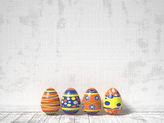 Easter eggs painted on white wooden background. Easter concept. 3D render illustration
