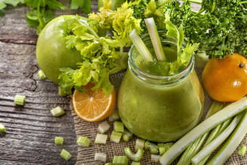 fresh homemade green smoothie made from celery