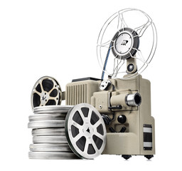 vintage movie projector with film reels