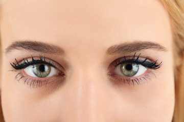 Female eyes with light make-up, closeup