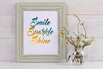 Smile, Sparkle, Shine. Life, Home, Happiness concept. Poster in frame Scandinavian style home interior decoration. 3D render