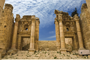Jordan. Jerash (the Roman ancient city of Geraza). The Propylaea - a monumental gate leading to the Temple of Artemis