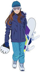 A young girl with long hair, wearing winter clothing and goggles, walking and carrying her snowboard and helmet.