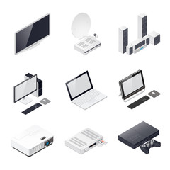 Home entertainment devices isometric icon