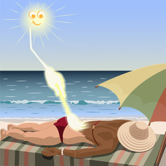 Sun creates tan for woman who lies on the beach. Sun draws suntan