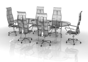 Office negotiation glass table with chairs