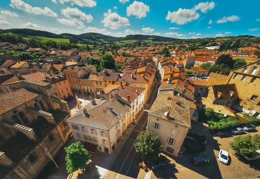 Aerial view  of Cluny city in  France , Burgundy