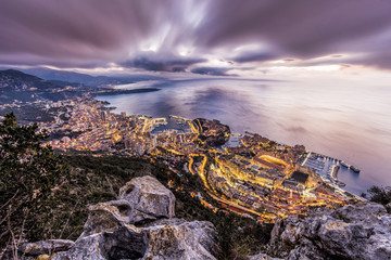 Monaco, View of Monte Carlo, dramatic evening sky