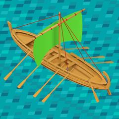 Sailing boat isometric vector illustration. Oar boat  icon. Oared ship isometric. Wooden sailboat marine water transport. Detailed barque realistic premuim eps.