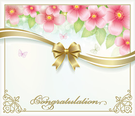 Congratulation. Postcard with floral background and golden bow