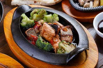 Salmon with vegetables and teriyaki sauce