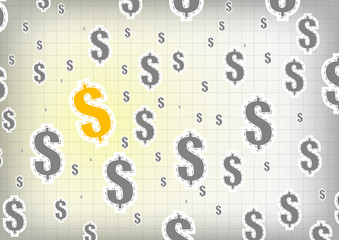 Vector : Gold and gray dollars sign  background