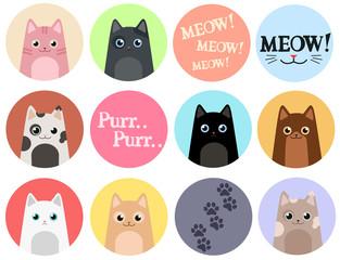 Set of 12 stickers. Cats. Cartoon vector design