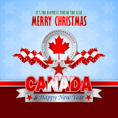 Merry Christmas, background with white, red stars on national flag colors and Maple leaf as coat of arms for Canadian Christmas; Happy New Year text on silver banner