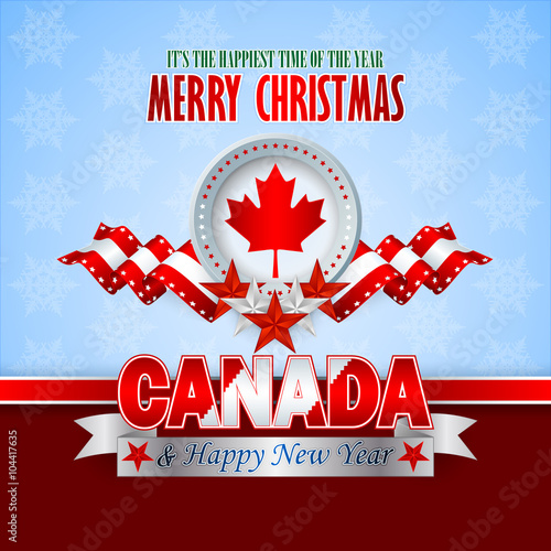 merry christmas background with white red stars on national flag colors and maple leaf