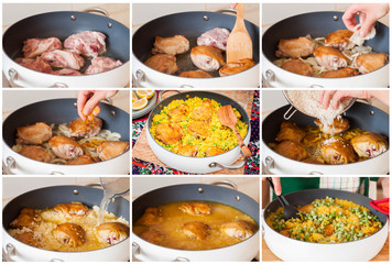 A Step by Step Collage of Making Chicken Thigh Biryani with Gree