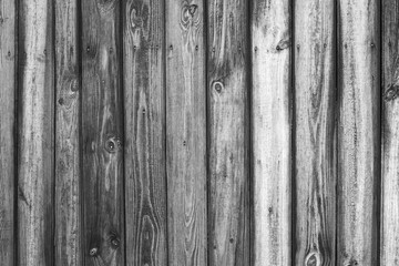 Vintage black and white wood background. Grunge wooden weathered oak or pine textured planks.