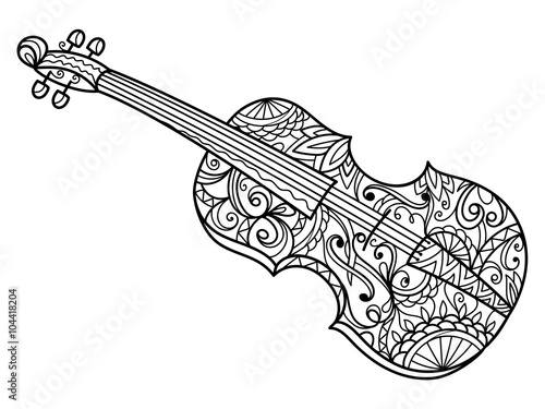 Violin Coloring Book For Adults Vector Stock Image And Royalty Free Vector Files On Fotolia