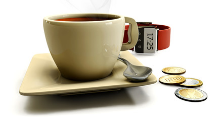 3d Coffee on the table on a white background